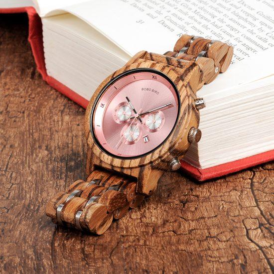Fa karóra uniszex, kronográf rózsaszín